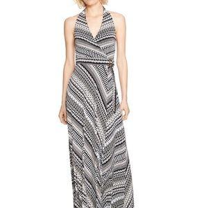 WHBM Black White Pattern Halter Maxi Dress